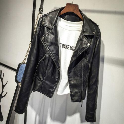 Vintage Women Punk Biker Motorcycle Lapel Soft Leather Zipper Slim Jacket Coat