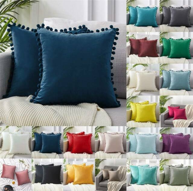 US Velvet Cushion Cover Pom Poms Home Decorative Sofa Car Throw Pillow Case 18/""