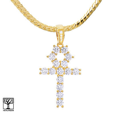 """24/"""" Miami Cuban Chain Necklace BCH 13108 G Iced Out Ankh Cross Pendant 20/"""""""