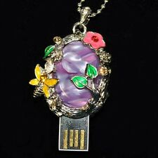 USB Stick 8 GB Rhinestone Jewellery Pendant Spirit level Sheets Water lily Pond