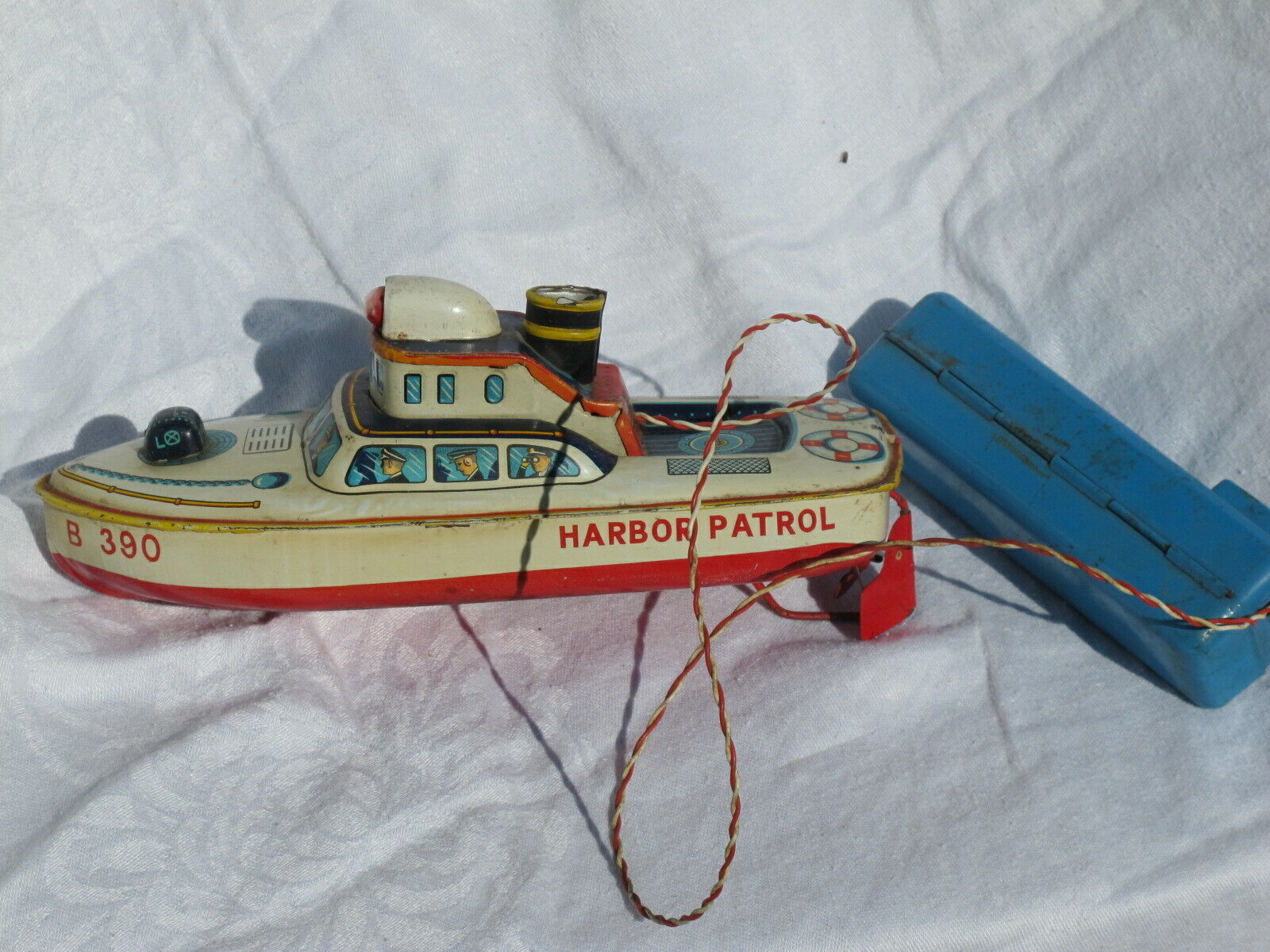 Vintage Tin Litho Battery Operated Harbor Boat for Ripristion