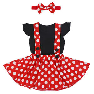 9ecd974d5ba7c Details about Mickey Minnie Mouse Cartoon Dress Suspender Romper Headband  Outfit for Baby Girl