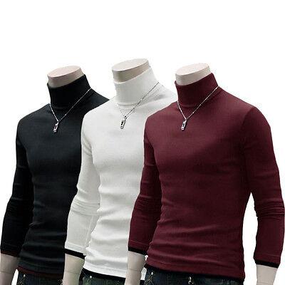 Men's polo neck Long Sleeve Turtleneck Sweater shirts jumper Pullover Base