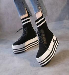 Womens-Lace-Up-High-Top-Platform-High-Top-Round-Toe-Muffins-Ankle-Boots-Shoes