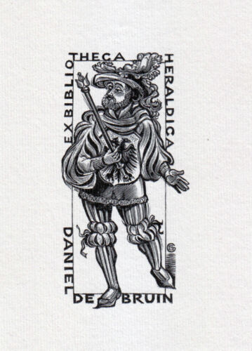 EX LIBRIS BOOKPLATE di G Gaudaen creato per Daniel de Bruin