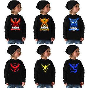 POKEMON-GO-Costume-bambini-da-maniche-lunghe-t-shirt-maglia-maglione-felpa