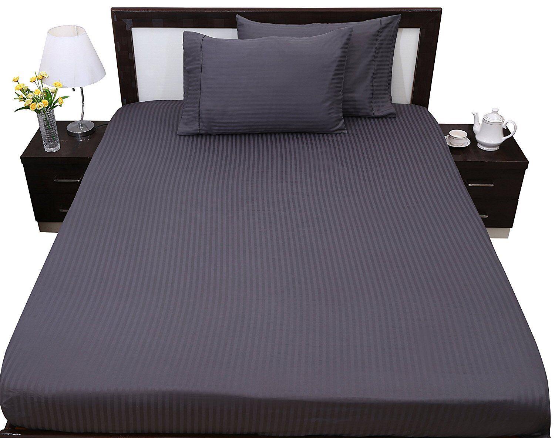 Luxury-USA Bedding Item-All Size Stripe 100% Pima Cotton 800 TC Dark Grey