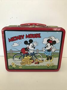 Disney Mickey Mouse Minnie Pluto Bicycle Lunch Box 199 Series 1 Metal