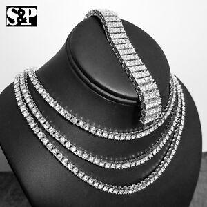 Iced Silver Pt 1 Rangée Lab Diamond Tennis Collier Chaîne & 4 Rangée Bracelet-afficher Le Titre D'origine