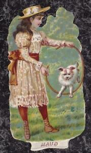 Victorian-Die-Cut-Scrap-Girl-Teaches-Dog-to-Jump-Through-Hoop-039-Maud-039-4-5-x-2-25-034