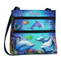 2016 Anuschka Dolphin World Compact Crossbody Travel Handbag Purse