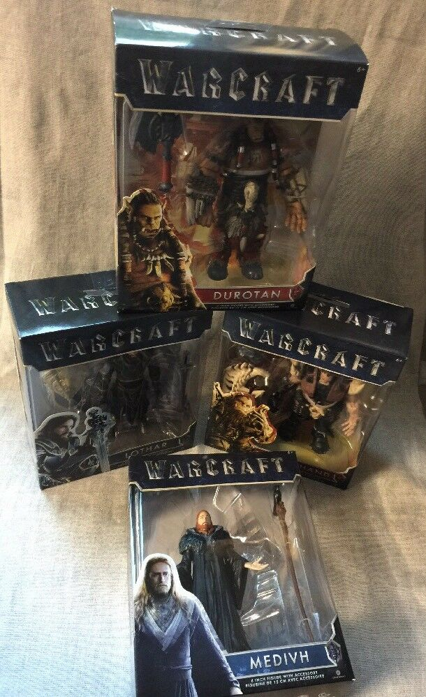 World Of Warcraft Action Figures by Jakks Lot of (4)Medivah,Duredan,Lothar & BH