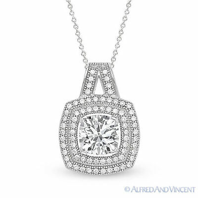 Round Cut Micro-Pave CZ Crystal Halo Pendant .925 Sterling Silver Chain Necklace