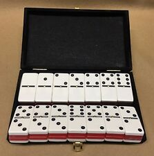 Domino Double Six Two Tone Red & White Dominoes Tournament Size in Velvet Case