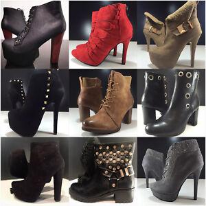Zapatos-senora-botas-botines-tobillo-plataforma-tacon-alto-simil-cuero-nuevo