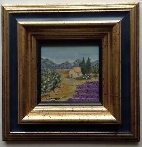 Tableau-Miniature-Impressionniste-Paysage-Provencal-Huile-Signee