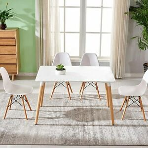 White Rectangle Dining Table And 4 6 Eiffel