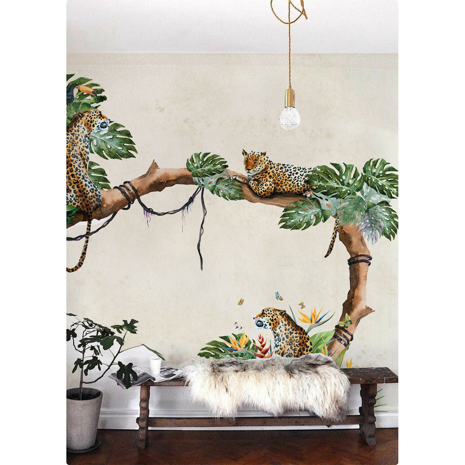 Wallpaper Tropical Cheetahs Mural Watercolor Wall Mural