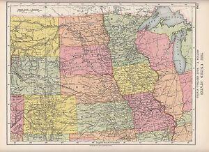 1923 Map United States America West Central Colorado Kansas