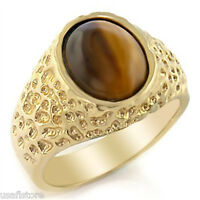 Mens Oval Tiger Eye Brown Stones 18kt Gold Plated Ring