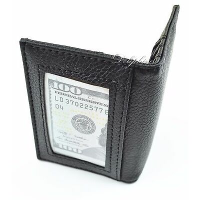 Leather Fold Wallet Credit Card Holder with Front ID Window 6 Card Slots