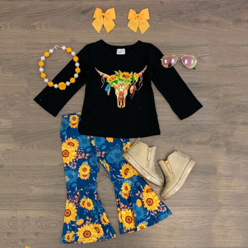 Flared Pants Outfits UK 3PCS Toddler Baby Girl Sunflower Clothes Tops T-shirt