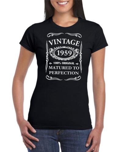 60th Birthday Present Gift Year 1959 Matured To Perfection Womens Retro T-Shirt