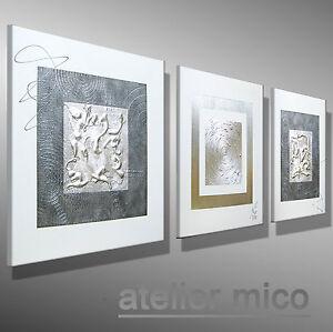 MICO-ORIGINAL-Gemaelde-modern-bilder-malerei-Kuenstler-Bild-SILBER-KUNST-Leinwand