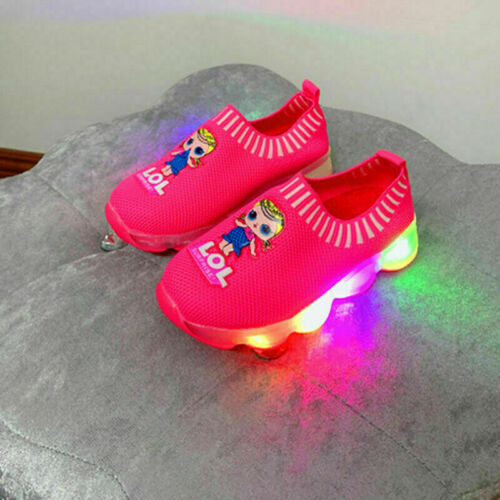 LOL Surprise Kids Led Light Shoes Trainers Sneaker Luminous Flyknit Sock Slip