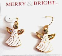 Lovely Pair 1 Brass Enameled Angel Earrings With Faux Jewels