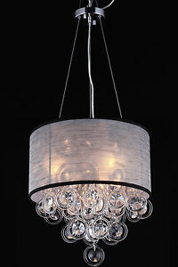 silk drum shade round glass chain ring loop crystal chandelier ebay