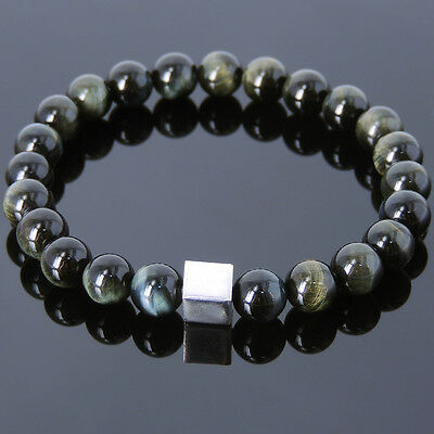 Men/'s Tiger/'s Eye Grounding Gemstone Mixed Blue Gold Blue Elastic Yoga Bracelet