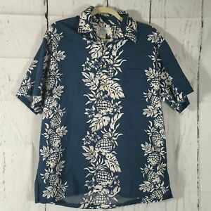 Men-039-s-Vintage-Kole-Kole-Pineapple-Print-Hawaiian-Shirt-Size-L