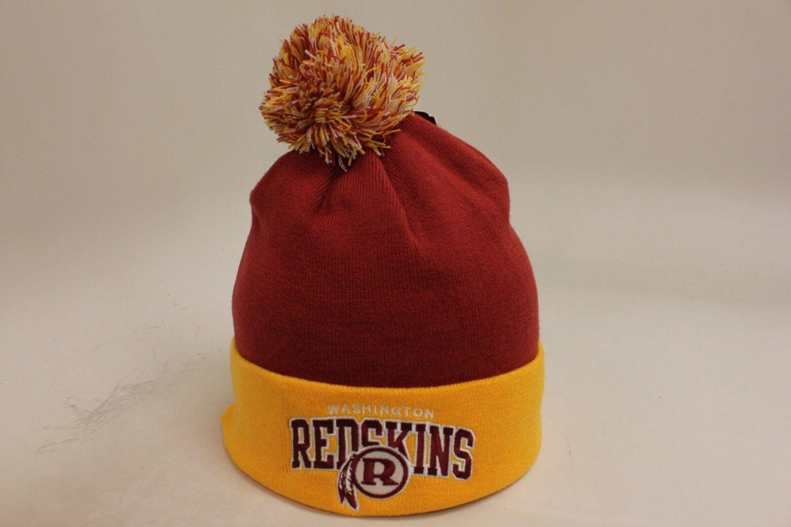 Washington Redskins Ness Burgundy/Yellow Block Letter Mitchell & Ness Redskins Pom Knit Skully d9335d