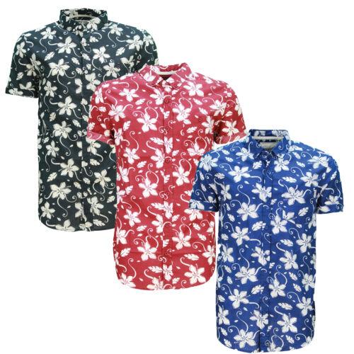 Soulstar tiki 6 homme imprimé floral chemise coton manches roulées bouton haut top