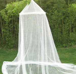 Round-Lace-Insect-Bed-Canopy-Netting-Curtain-Dome-Mosquito-Net-Elegant-White