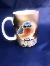 New SET OF 4  15 oz MAD BLUEBIRD Ceramic Mugs by Michael L Smith