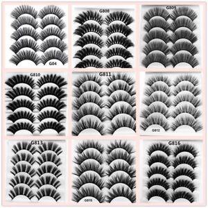 5-Pairs-Black-Handmade-Real-Mink-3D-False-Eyelashes-Cross-Thick-Long-Lashes-U-S
