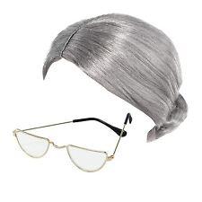 63d2783676e2 Old Lady Granny Bun Wig   Half Moon Glasses Specs Fancy Dress Costume  Accessory