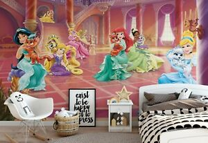 Detalles De 368x254cm Niñas Habitación Verde Mural De Pared Wallpaper Disney Princess Palace Mascotas Ver Título Original