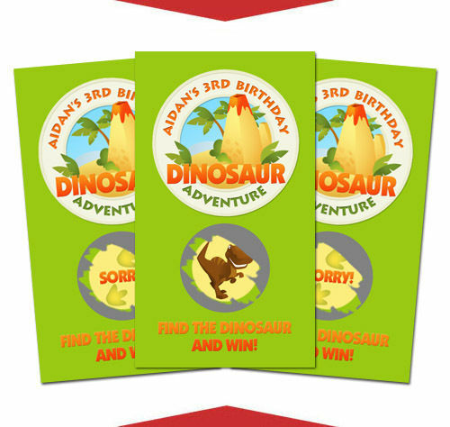 10 Dinosaur Birthday Party Favor Personalized Scratch Off Games