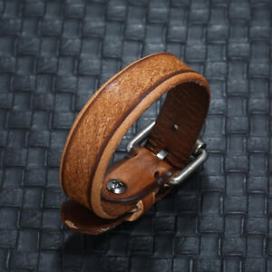 Mens-Women-Brown-Handmade-Braided-Leather-Bracelet-Wristband-Cuff-Bangle-Jewelry