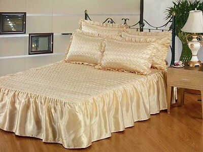 LUXURY PLAIN PRINTED LIGHTLY QUILTED SATIN POLYESTER BEDSPREAD SETS WITH FRILL