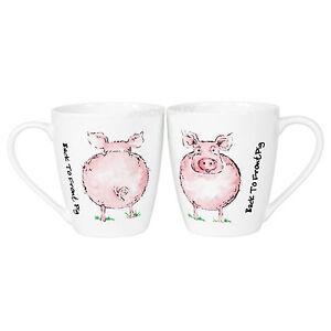 0a4c5314623 Set of 4 Novelty Cartoon Pig Coffee Mugs Farm Animal Back To Front ...