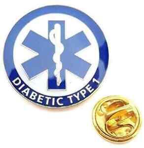 Diabetique-Type-1-Medical-Alert-Symbole-Insigne-Broche-Badge