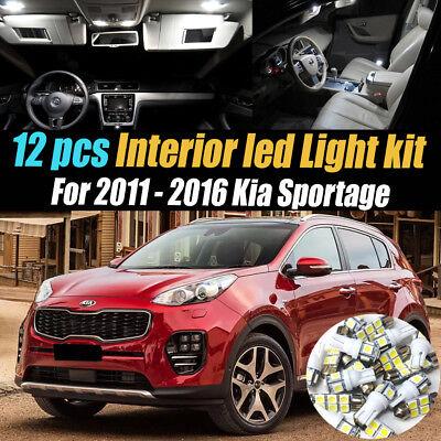 10Pc Super White Car Interior LED Light bulb Kit Pack for 2011-2016 Kia Sportage
