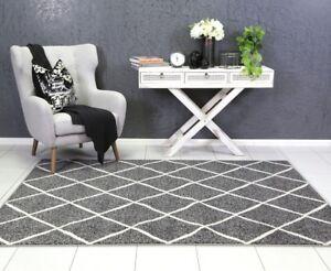 Elly Grey Floor Rug Modern Trellis