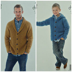 KNITTING PATTERN Mens/Boys Roll Collar or Hooded Cardigan Chunky ...