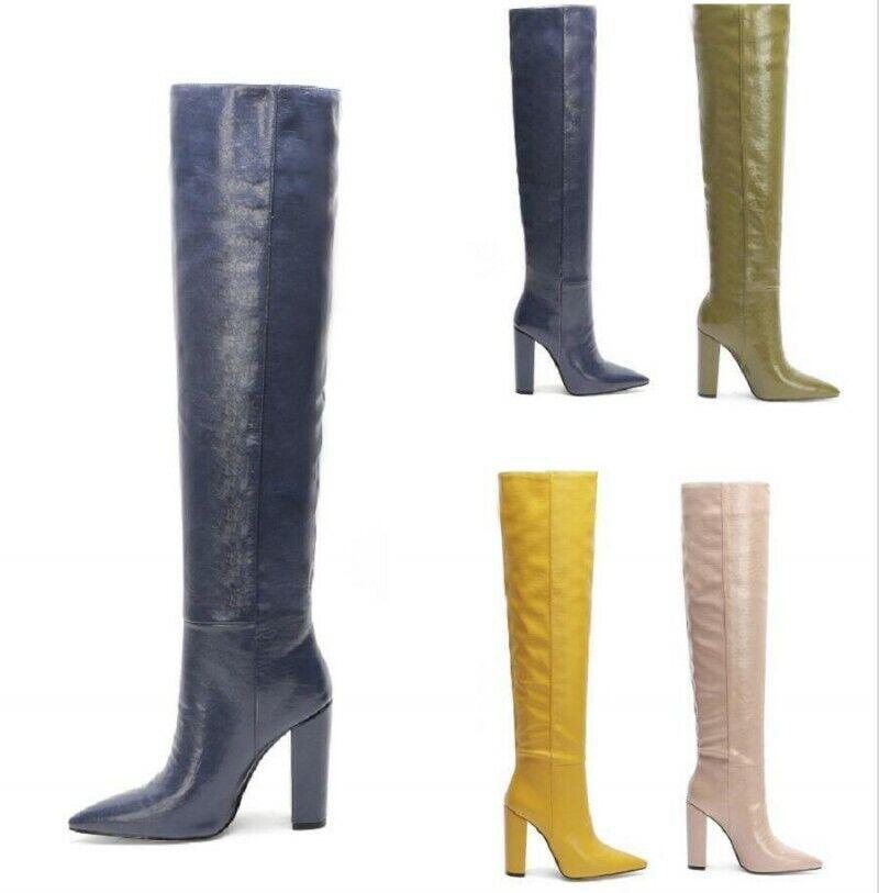 Classique-3011 elegante Pleaser Damen High Heels Overkneestiefel weiß Gr 35-46