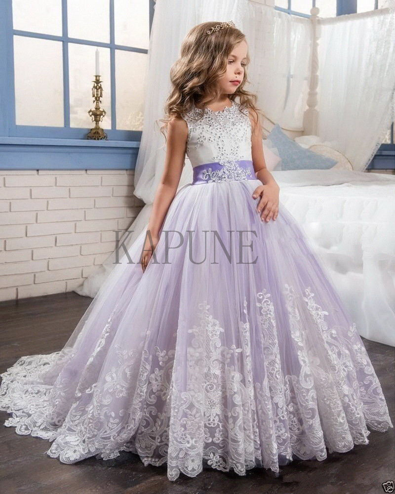Girl's Lace Dresses Bridesmaid Party Princess Prom Wedding Christening 2-14 Year
